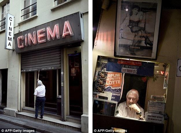 """Rạp chiếu Beverley là rạp chiếu """"phim nóng"""" cuối cùng còn tồn tại ở thành phố Paris. Rạp sẽ đóng cửa vào cuối năm nay bởi sự cạnh tranh """"khốc liệt"""" với Internet. Trong ảnh là chủ rạp - ông Maurice Laroche (74 tuổi)."""
