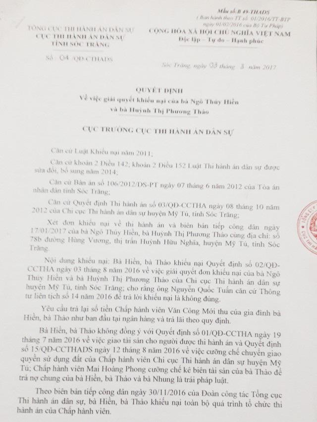 Quyết định giải quyết khiếu nại vụ việc, trong đó Cục thi hành án dân sự tỉnh Sóc Trăng thừa nhận có sai sót.