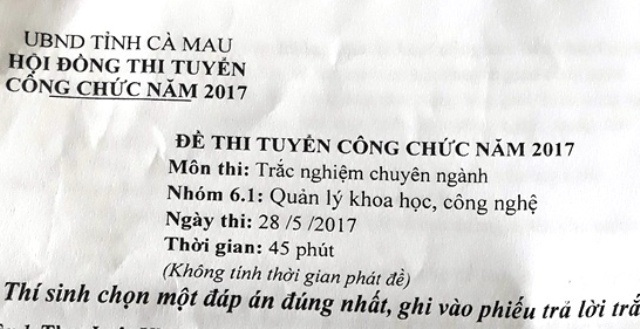 Một đề thi công chức năm 2017 của tỉnh Cà Mau đã dự thi.