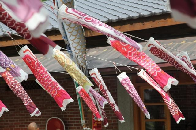 Cờ cá chép được treo ở lối vào hay trong chùa, đó là để chuyển bị cho ngày ngày lễ những bé gái 3/3 và ngày lễ những bé trai 5/5