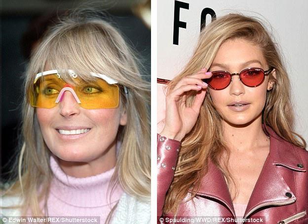 """Hồi thập niên 1990, nữ diễn viên người Mỹ Bo Derek (trái) từng chạy theo mốt """"hot"""" nhất thời bấy giờ - những chiếc kính râm mang màu sắc tươi tắn. Giờ đây, người mẫu Gigi Hadid (phải) cũng trở về với mốt của thập niên 1990."""