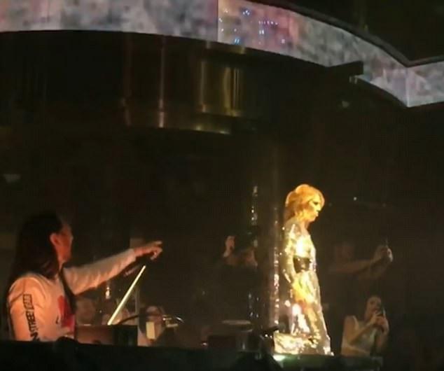 """Đây là lần đầu tiên Celine Dion biểu diễn trong tiết mục remix """"My Heart Will Go On"""" của DJ Steve Aoki (trái)."""