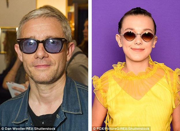 Nam diễn viên Martin Freeman (trái) và nữ diễn viên nhí người Anh - Millie Bobby Brown (phải) cũng thích thú với kính râm màu sắc.