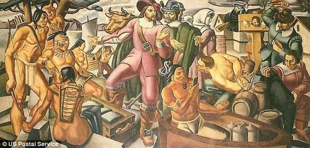 """Bức bích họa """"Mr. Pynchon and the Settling of Springfield"""" lấy bối cảnh Bắc Mỹ thế kỷ 17 cho thấy một người đàn ông đang cầm trong tay một món đồ vật giống như chiếc điện thoại thông minh."""