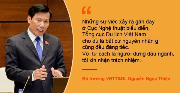 Xem thêm: Bộ trưởng Nguyễn Ngọc Thiện nhận trách nhiệm ở Cục biểu diễn, Tổng cục Du lịch