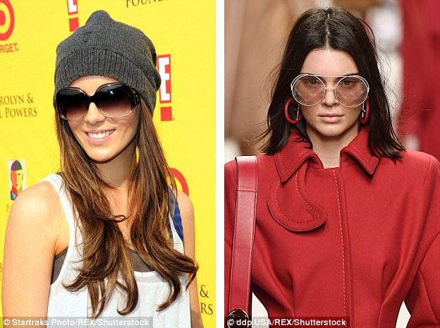 """Kính gọng to cho tới thời điểm này trở thành món đồ phụ kiện thời trang """"tuyên ngôn"""" của những cô nàng phá cách, cá tính. Nữ diễn viên Kate Beckinsale (trái) và người mẫu Kendall Jenner (phải) đều từng xuất hiện với kính gọng to trong năm nay."""
