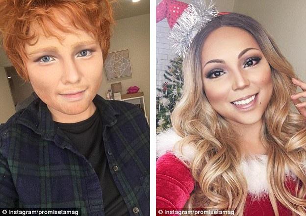 Promise từng gây sửng sốt khi hóa trang thành những ngôi sao nổi tiếng như nam ca sĩ người Anh Ed Sheeran (trái) hay nữ diva người Mỹ Mariah Carey (phải).