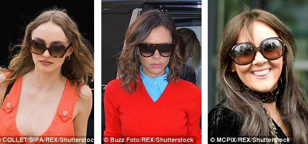"""Nữ diễn viên Lily Rose Depp (trái), nhà thiết kế thời trang Victoria Beckham (giữa), nữ ca sĩ người Anh Martine McCutcheon (phải) cũng """"nghịch ngợm"""" với kính gọng to."""