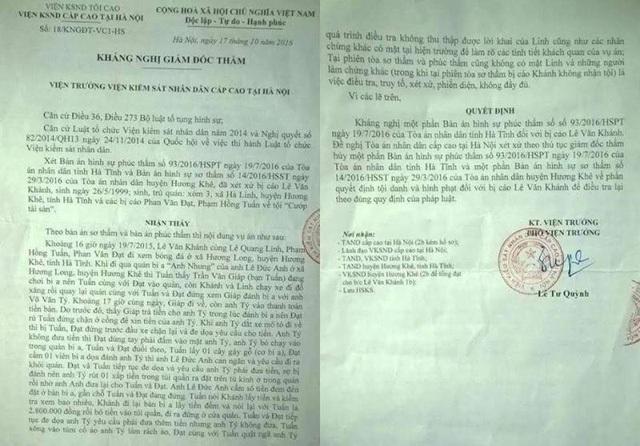 Quyết định kháng nghị đề nghị hủy một phần bản án sơ thẩm và phúc thẩm để điều tra lại của VKSND Cấp cao tại Hà Nội.