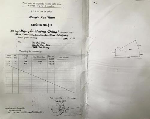 Một cuốn sổ đỏ của người dân đang khiếu kiện được ông Nguyễn Đức Đăng ký cấp.
