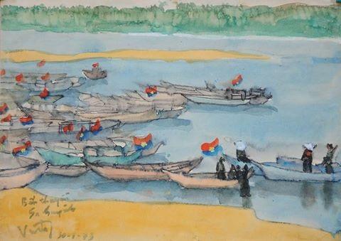 Một trong những bức tranh ký hoạ màu nước sẽ xuất hiện trong triển lãm.