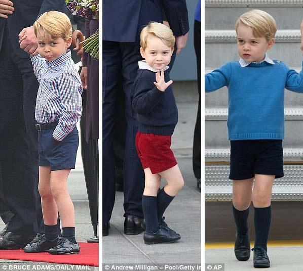 """""""Hoàng tử bé"""" George luôn mặc quần soóc tại các sự kiện chính thức và cả cuộc sống thường nhật. Mùa lạnh, George thường mang thêm đôi tất cao cổ để giữ ấm."""