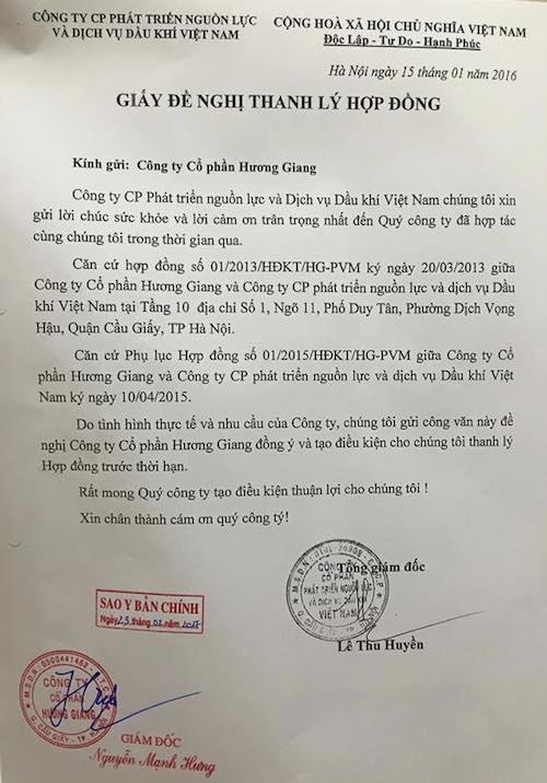 Ngày 15/1/2016, bà Lê Thu Huyền - Tổng giám đốc Công ty Petromanning đã ký giấy đề nghị thanh lý hợp đồng thuê tầng 10 toà nhà Maple Tower làm trụ sở với Công ty cổ phần Hương Giang.