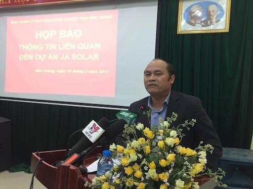 ông Nguyễn Văn Linh - Chủ tịch UBND tỉnh Bắc Giang cũng xin nhận một phần trách nhiệm trong công tác quản lý nhưng mong muốn Bộ TN&MT nhanh chóng phê duyệt ĐTM cho dự án.