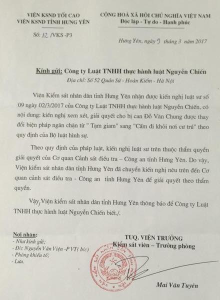 VKSND tỉnh Hưng Yên cho biết việc thay đổi biện pháp ngăn chặn với bị can Đỗ Văn Chung thuộc thẩm quyền của Cơ quan CSĐT Công an tỉnh Hưng Yên.