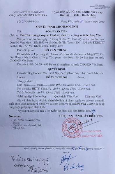 VKSND tỉnh Hưng Yên quy kết sai tội, bị can được tại ngoại sau gần 3 năm bị bắt tam giam.