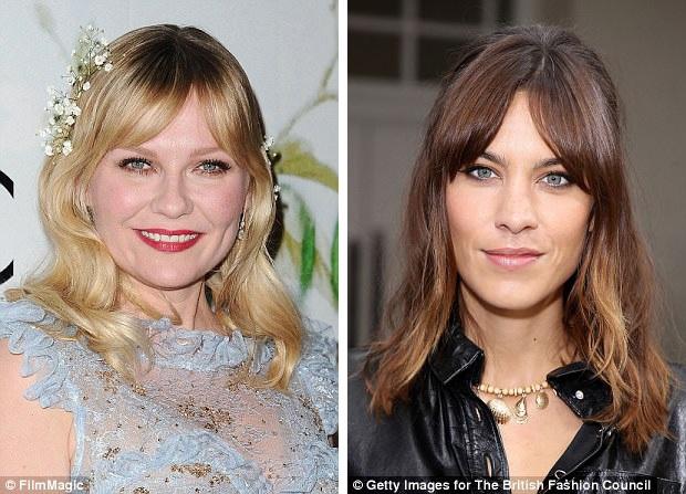 """Nữ diễn viên Kirsten Dunst (35 tuổi - trái) và người mẫu Alexa Chung (33 tuổi - phải) cũng đang để mái mưa. Với kiểu mái này, có rất nhiều cách biến tấu. Nếu bạn có mái tóc dày, bạn có thể dành nhiều tóc cho mái. Nếu tóc bạn mỏng, có thể để đúng kiểu tóc mái """"lưa thưa""""."""