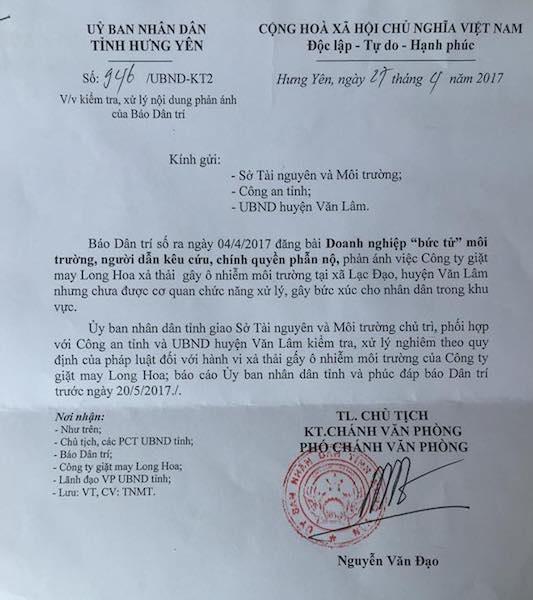 """UBND tỉnh Hưng Yên chỉ đạo xử nghiêm doanh nghiệp """"bức tử"""" môi trường."""