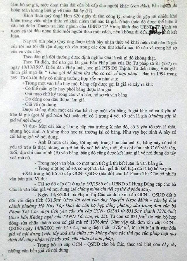 Trong đơn tố cáo này, ông Nam cũng chỉ rất rõ nhiều tình tiết quan trọng đến việc một số cán bộ đã lợi dụng, cấu kết làm hồ sơ giả để được cấp đất cho bà Cúc.