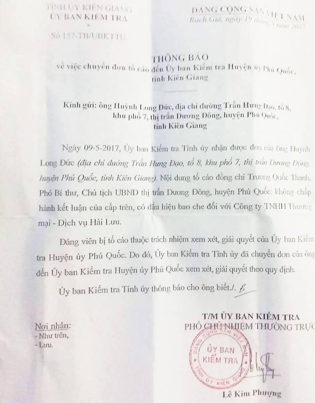Ủy ban Kiểm tra Tỉnh ủy Kiên Giang đề nghị Ủy ban Kiểm tra huyện ủy Phú Quốc xem xét giải quyết đơn tố cáo Chủ tịch thị trấn Dương Đông không chấp hành kết luận cấp trên, có dấu hiệu bao che đối với Công ty Hải lưu.