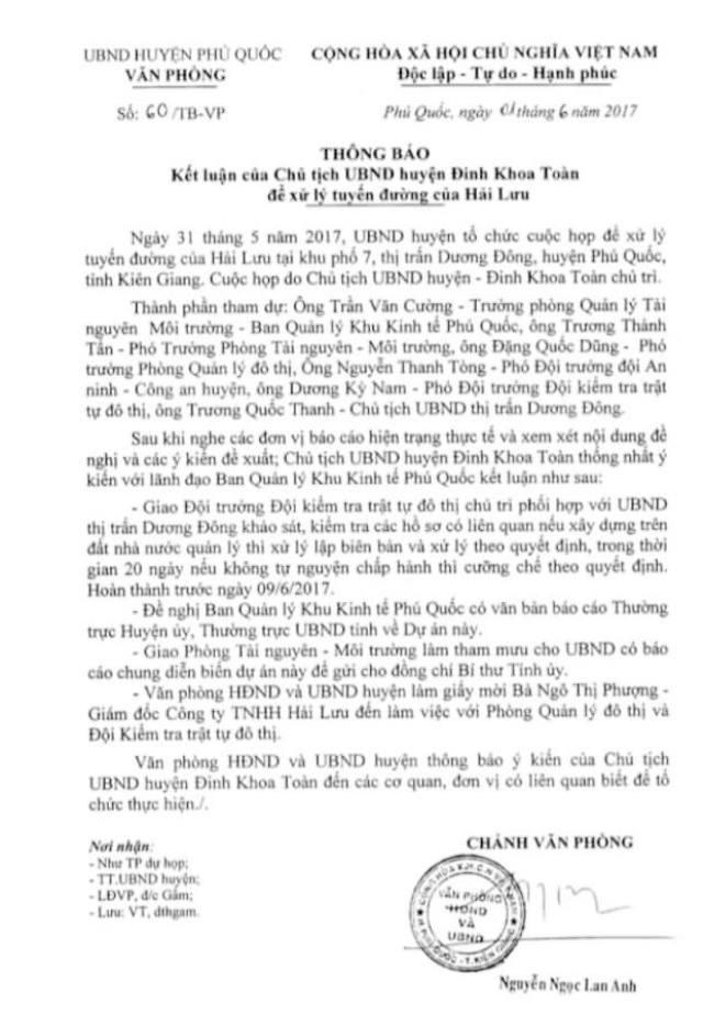 Thông báo kết luận của Chủ tịch UBND huyện Phú Quốc vào tháng 6/2017: Giao Đội Kiểm tra trật tự đô thị huyện chủ trì, phối hợp với UBND thị trấn Dương Đông khảo sát, kiểm tra các hồ sơ có liên quan. Nếu xây dựng trên đất Nhà nước quản lý thì lập biên bản, xử lý theo quy định. Trong thời hạn 20 ngày, nếu không tự nguyện chấp hành thì cưỡng chế theo quyết định.
