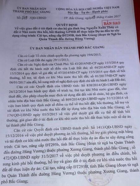 Bắc Giang: Chính thức nhận tiền đền bù, đất tái định cư, bạn đọc cảm ơn Báo Dân trí - 1