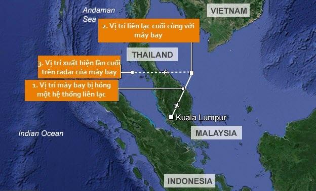 Vị trí mất tích của máy bay MH370 vào ngày 8/3/2014. (Ảnh: Dailymail)