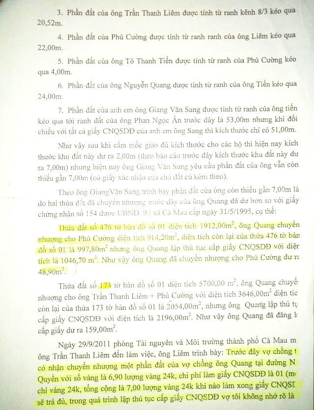 Theo kết quả xác minh vào năm 2011, hầu như các thửa đất của ông Nguyễn Quang, thửa nào cũng được cấp dư so với thực tế.