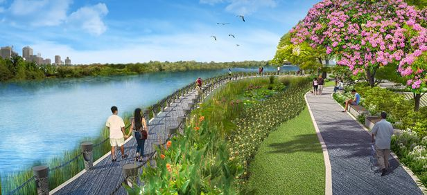 Toàn bộ diện tích mặt sông trong đô thị PMH được chủ đầu tư phát triển các công trình công cộng như trường học, công viên. Công viên Sakura Park là một phần của khu phức hợp, có vị trí cạnh dòng sông