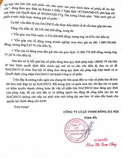 Công văn kiến nghị xử lý vụ cổ phần hoá tại Công ty HACINCO theo đúng quy định pháp luật của Công ty Luật TNHH Đông Hà Nội.