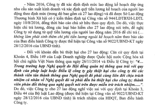 Sở Tài chính tỉnh Cà Mau nhận định, 27 lao động sẽ nhận lại vẫn còn nằm trong kế hoạch lương của Công ty Cấp nước và trách nhiệm bồi thường thuộc về lãnh đạo công ty này.