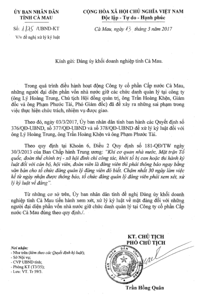 Người lao động bức xúc cho rằng, không biết nguyên nhân gì đã quá thời hạn quy định mà Đảng ủy Khối doanh nghiệp tỉnh Cà Mau không thực hiện kỷ luật Đảng đối với người đại diện phần vốn Nhà nước theo quy định.