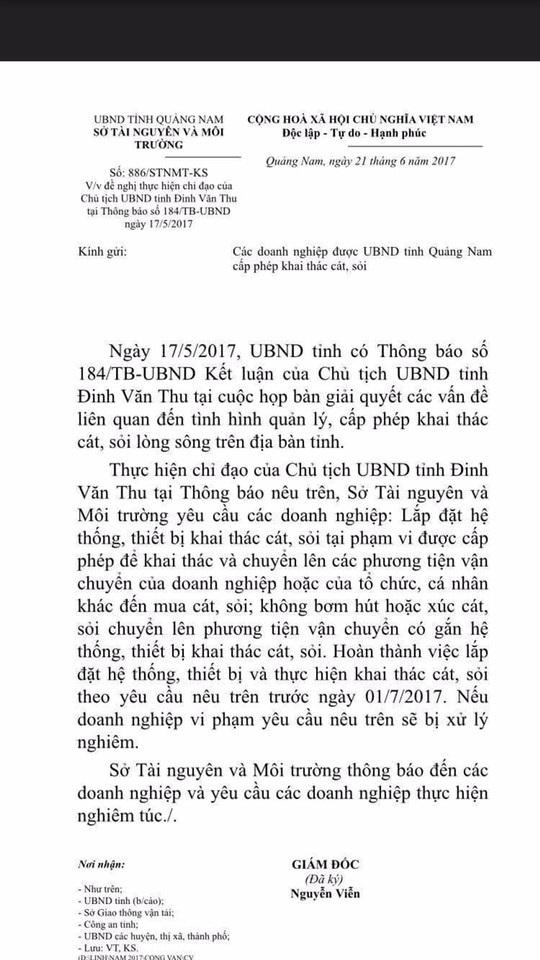 Thông báo của Sở TN-MT Quảng Nam yêu cầu các doanh nghiệp trang bị phương tiện hút cát ngay tại mỏ, các ghe không được trang bị phương tiện hút cát