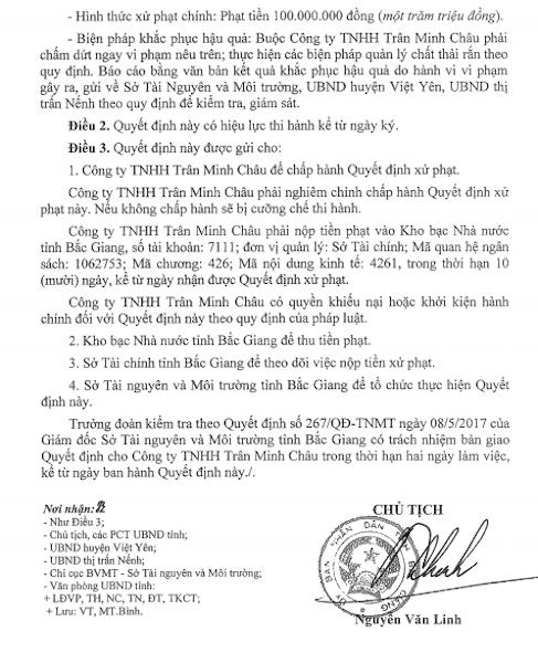 """Chủ tịch tỉnh Bắc Giang tiếp tục ký quyết định xử phạt một công ty """"bức tử"""" môi trường."""