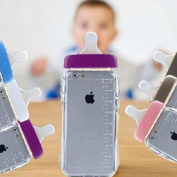 iPhone với ốp lưng giả bình sữa độc đáo