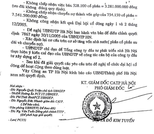 Công an TP Hà Nội chỉ rõ các sai phạm trong vụ cổ phần hóa HACINCO và sai phạm của cá nhân nguyễn giám đốc Công ty Nguyễn Chí Sỹ.