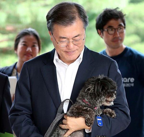 Tổng thống Moon và thành viên mới của Nhà Xanh, Tory. (Ảnh: Reuters)