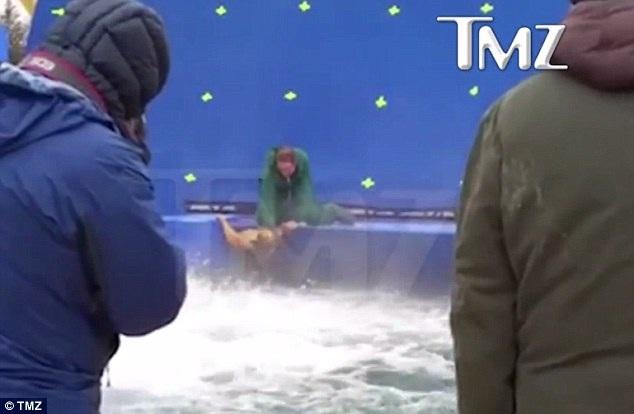 Đoạn băng ghi hình được tờ tin tức chuyên về đời sống Hollywood - TMZ - đăng tải đầu tiên, cho thấy một người huấn luyện chó đã buộc một chú chó đang hoảng sợ phải nhảy xuống bể nước trong khi chú chó này cố gắng bám chặt vào thành bể.