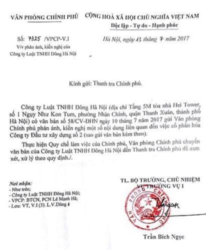 Văn phòng chính phủ chuyển nội dung kiến nghị đến Thanh tra Chính phủ xem xét, giải quyết.