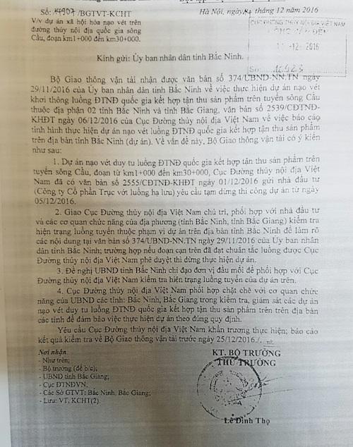 Công văn hồi âm của Bộ GTVT gửi UBND tỉnh Bắc Ninh.