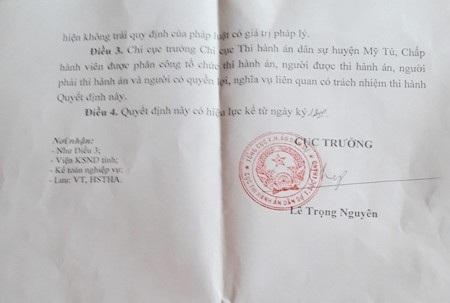 Cục Thi hành án dân sự tỉnh Sóc Trăng bất ngờ có quyết định rút hồ sơ thi hành án.