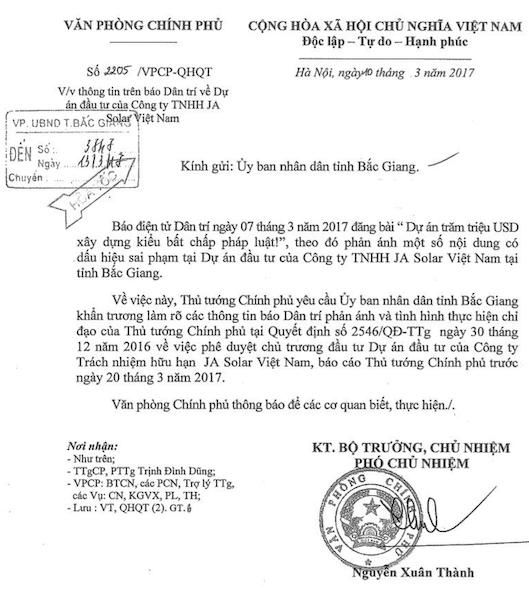 Thủ tướng Chính phủ yêu cầu UBND tỉnh Bắc Giang báo cáo sau khi Báo Dân trí đăng tải thông tin điều tra sai phạm tại dự án hơn 6000 tỷ đồng trốn ĐTM.