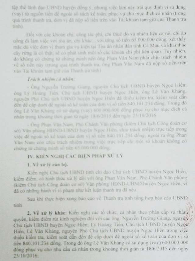 Kết luận của Thanh tra Nhà nước tỉnh Cà Mau về vụ bỏ ngoài sổ kế toán hơn 800 triệu đồng. Trong đó, một số lãnh đạo UBND huyện Ngọc Hiển chỉ bị đề nghị... rút kinh nghiệm.