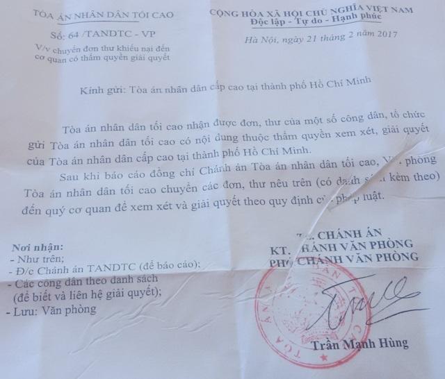 Văn bản của TAND Tối cao chuyển đơn phản ánh của người dân (trong đó có ông Phạm Văn Sỹ) về TAND Cấp cao tại TPHCM xử lý theo thẩm quyền.