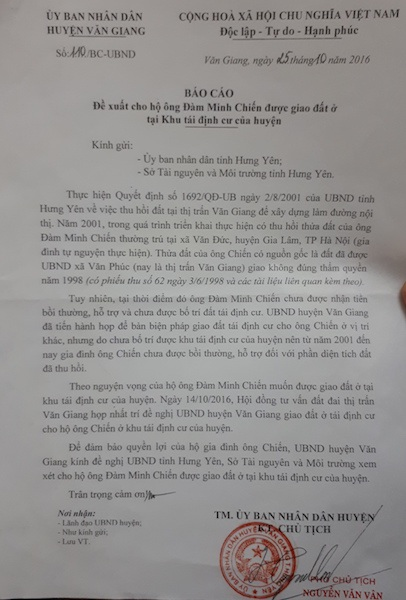 Chủ tịch UBND huyện Văn Giang cũng đề nghị UBND tỉnh Hưng Yên; Sở TNMT tỉnh Hưng Yên giải quyết trường hợp 15 năm chưa được nhận đất tái định cư.