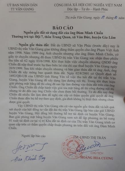 UBND Thị trấn Văn Giang đề nghị giải quyết quyền lợi của người dân.
