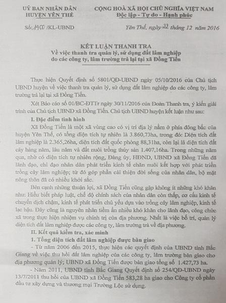 Kết luận thanh tra của UBND huyện Yên Thế do ông Vũ Trí Hải ký ban hành đã chỉ ra hàng loạt sai phạm trong quản lý đất đai liên quan đến người thân quan xã, quan huyện tại Yên Thế.