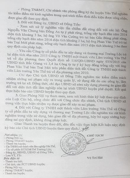 Chủ tịch UBND huyện Yên Thế Vũ Trí Hải ký kết luận thanh tra làm rõ nhiều sai phạm trong quản lý đất rừng liên quan đến lãnh đạo địa phương.