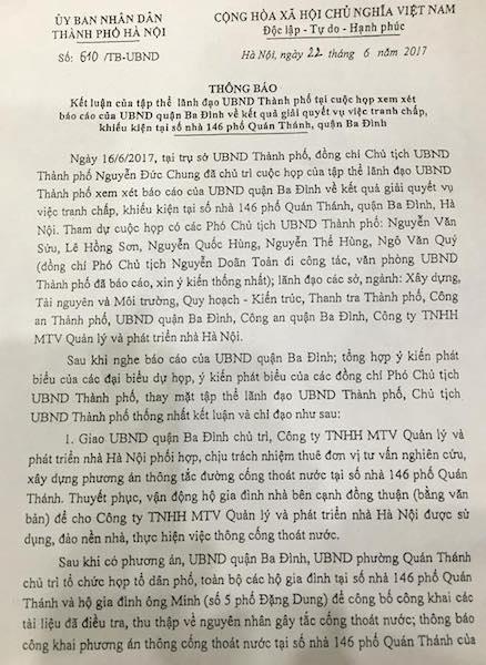 Chủ tịch TP Hà Nội chỉ đạo thông đường cống tắc, giải cứu cư dân 146 Quán Thánh - 1