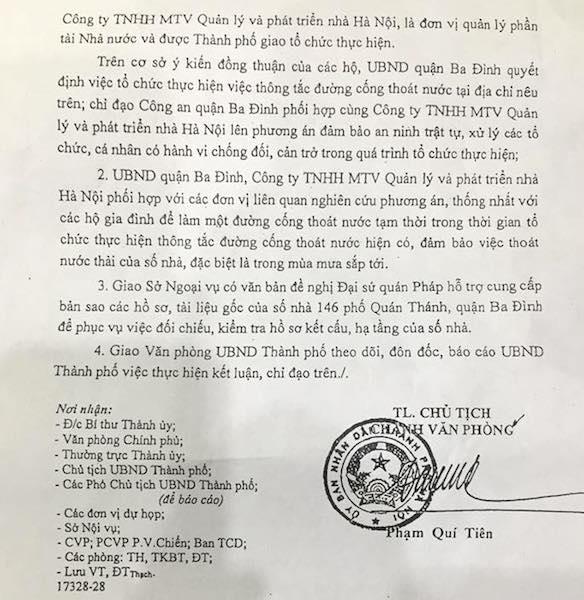 """Chủ tịch TP Hà Nội chỉ đạo thông đường cống tắc """"bức tử"""" biệt thự 146 Quán Thánh."""